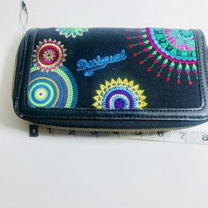 Desigual folk style embroidered wallet clutch
